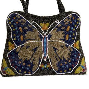 Beaded Butterfly Vtg Novelty Shoulder Bag